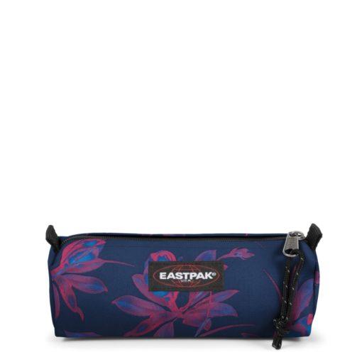Estuche Eastpak escolar: Benchmark SINGLE EK37242T Glow Pink azul marino con flores rosa fluor