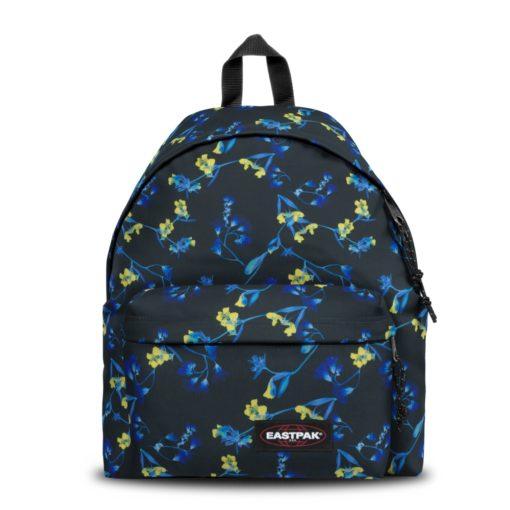 MOCHILA EASTPAK Padded Pak'r EK62040T GLOW BLACK fondo negro con flores azules y amarillos