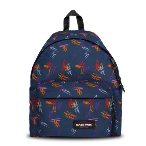 MOCHILA EASTPAK Padded Pak'r® EK62096X EK62096X Scribble Urban Fondo azul y escritura rojo naranja