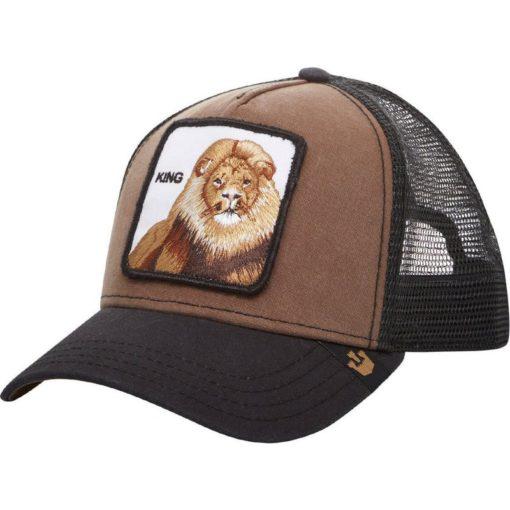 Gorra animales GOORIN BROS Trucker King bronw black León marrón y negra