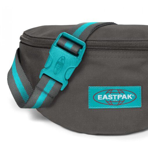 Riñonera Eastpak Springer EK074A12 BLAKOUT WHALE gris oscura con detalles azul turquesa