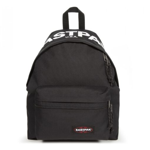 MOCHILA EASTPAK Padded Pak'r® EK620A16 Bold Brand negra con logo Eastpak blanco solapa
