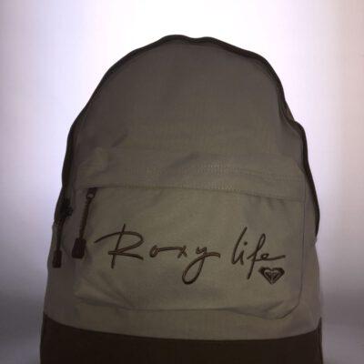 Mochila Roxy Basic Girl ref. QJWBA011 4033303 Beig y marrón logo bordado marrón