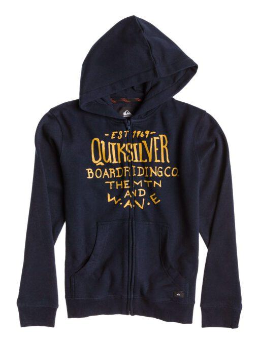Sudadera niño Quiksilver con capucha y cremallera SSDD Youth Ref. EQBFT03053 Azul marino y logo amarillo