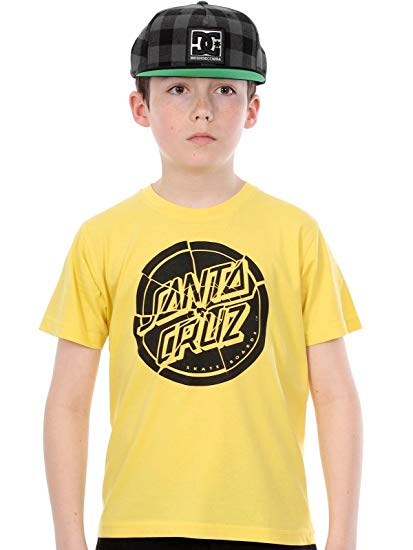 Camiseta manga corta niño Santa Cruz Ref. Youth Shattered Dot SS Tee Banana amarilla logo negro