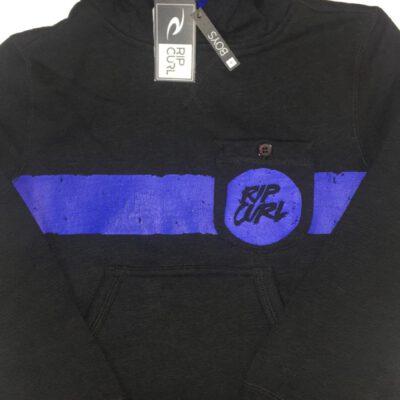Sudadera Rip Curl niño con capucha Surf wear Ref. kfeam4 negra y logo azul