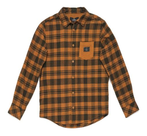 Camisa de Manga Larga Niño Rip Curl Flannel - New Lifestyle Shirt sudan brown cuadros negro mostaza