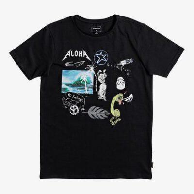 Camiseta manga corta niño Quiksilver Classic Puke Katuna Ref. EQBZT03669 Negra estampada Aloha