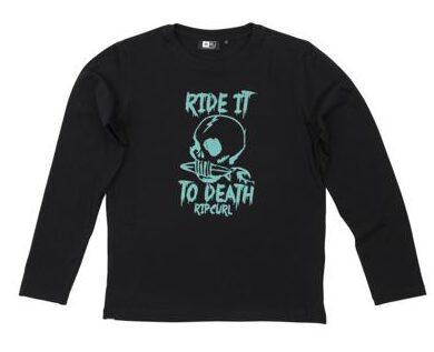 Camiseta manga larga niño Rip Curl RIDE IT LS TEE BLACK REF. KTEET4-90 BLACK negra Calavera turquesa