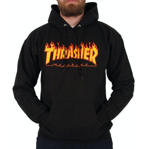 Sudadera Hombre con capucha THRASHER Flame Hoodie Black Ref. 113102 Negra logo llamas fuego