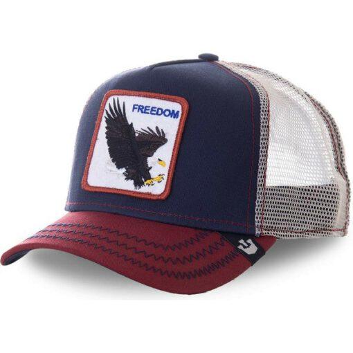 Gorra animales GOORIN BROS Águila Trucker Eagle Freedom tricolor azul beig y roja