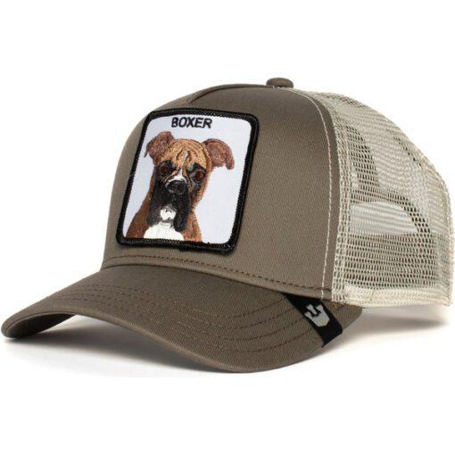 Gorra GOORIN BROS BUTCH TRUCKER rejilla/ajustable perro Boxer castaño color verde y beig