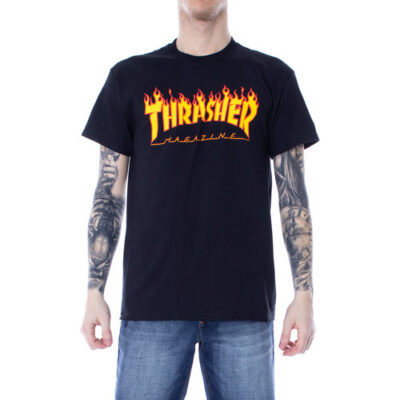 Camiseta THRASHER Magazine Hombre Flame logo manga corta Ref. 110102 NEGRA Llama fuego amarilla y naranja