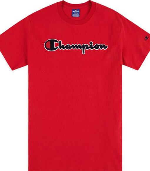 Camiseta manga corta CHAMPION Hombre Cuello redondo SATIN SCRIPT LOGO CREW NECK T-SHIRT Ref. 212946 roja
