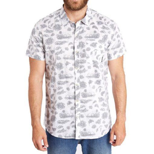 Camisa de Manga Corta Hombre BILLABONG Dark Sunrise SS SHIRT Ref. sh05 Estampado tropical fondo blanco