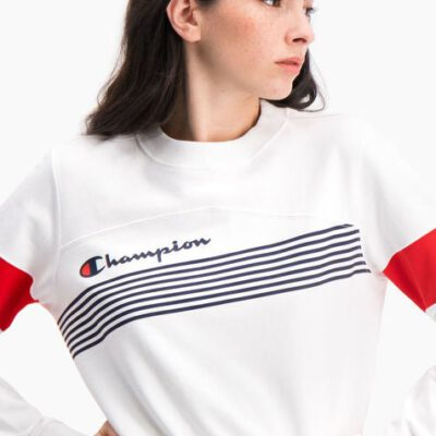 Sudadera CHAMPION chica cuello redondo GRAPHIC STRIPE AND COLOUR BLOCK CROPPED SWEATSHIRT Ref. 112761 Blanca, azules y roja