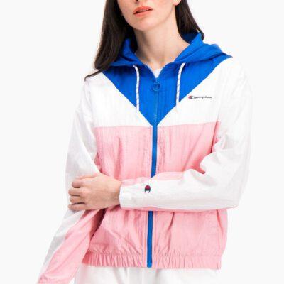 Chaqueta deportiva CHAMPION chica con cremallera COLOUR BLOCK HOODED TRACK JACKET Ref. 112771 Blanca, azules y rosa