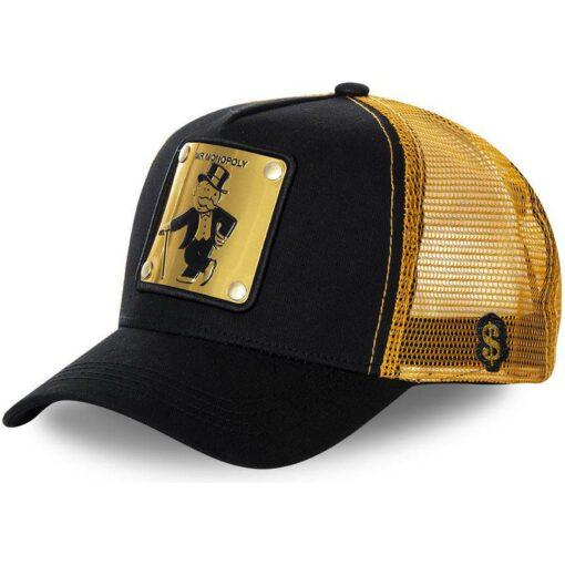 Gorra CAPSLAB trucker negra, amarilla y parche dorada Rich Uncle Pennybags BIF Monopoly