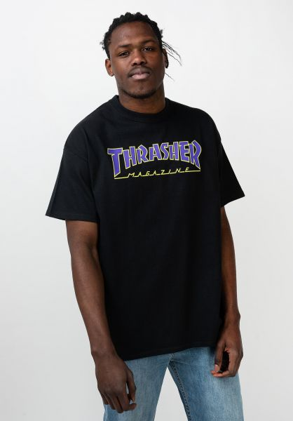 Camiseta THRASHER Magazine Hombre Flame logo manga corta Ref. 110102 NEGRA Llama fuego morada y verde fluor
