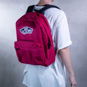 Mochila Vans unisex Realm Backpack III Ref. VN0A3UI6SQ21 Fucsia oscuro con logo blanco con bolsillo ordenador