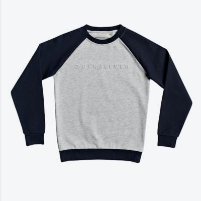 Sudadera niño Quiksilver cuello redondo Ref. EQBFT03534 sjsh gris clara mangas azul marino logo relieve