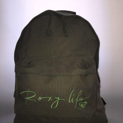 Mochila Roxy Basic Girl ref. QJWBA 011 4033303 Verde Logo verde bordado Roxy life