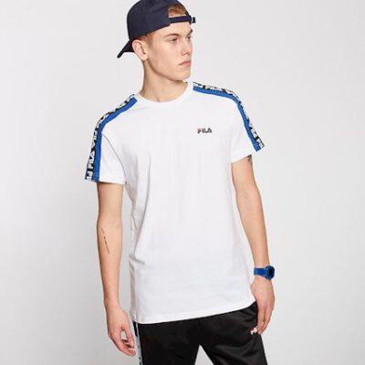 Camiseta manga corta FILA chico Men Thanos Tee Ref. 687700 Blanca bandas azules impresas logos