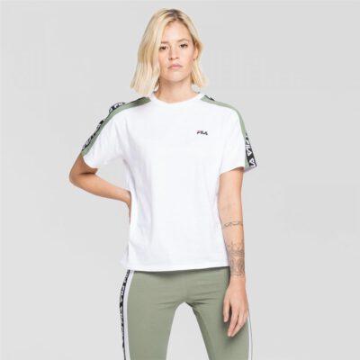 Camiseta manga corta FILA chica Tandy Tee Ref.687686 blanca banda logo impreso mangas verde