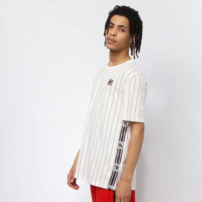 Camiseta manga corta FILA chico Men Hades Aop Tee Ref. 687641 Blanca y rayas negras bandas impresas logos