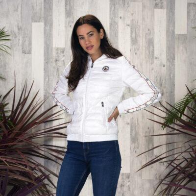 Chaqueta capucha Jott de plumas Mujer Blanc 901 CATHY BASIC franja logos mangas Justoverthetop Color blanco