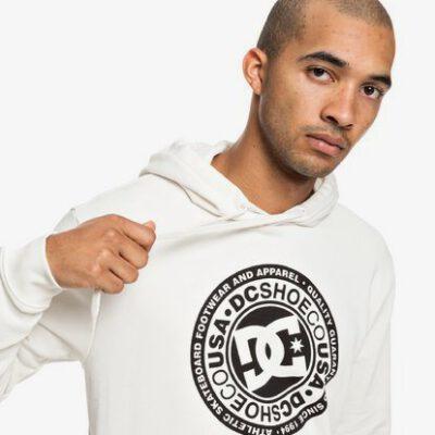 Sudadera Hombre con capucha DC SHOES CIRCLE STAR Ref. EDYSF03183 Blanca logo negro