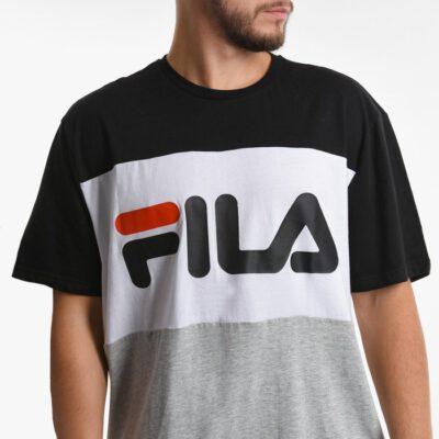 Camiseta manga corta FILA chico Men Day Tee Ref. 681244 Negra blanca y gris bandas