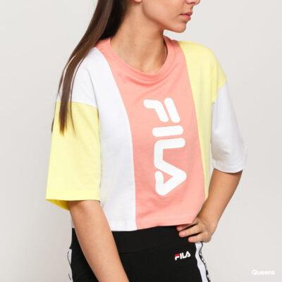 Top manga corta FILA chica Bai Cropped Tee Ref.687492 blanca salmón y amarilla logo fila vertical