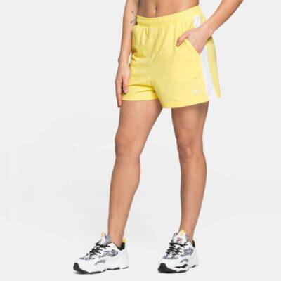 Pantalón Shorts corto FILA chica BADU SHORTS Ref. 687493 amarillo bandas laterales blanca