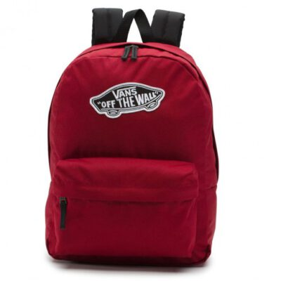 Mochila Vans unisex Realm Backpack III Ref. VN0A3UI61OA1 Granate con logo blanco con bolsillo ordenador