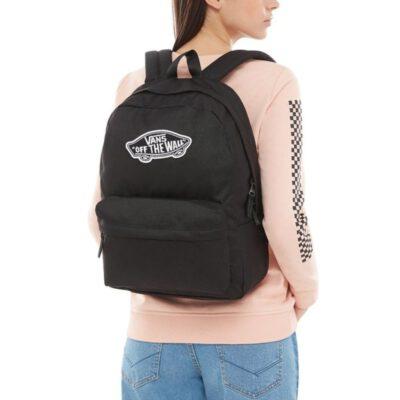 Mochila Vans unisex Realm Backpack III Ref. VN0A3UI6BLK1 Negra con logo blanco bolsillo ordenador