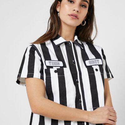 Camisa manga corta OBEY chica Static Work Shirt Ref. 281210073 Black Stripe rayas negras y blancas