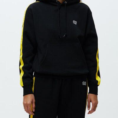 Sudadera con capucha OBEY chica Apex Hood Ref. 211610076 Negra con banda amarillla mangas