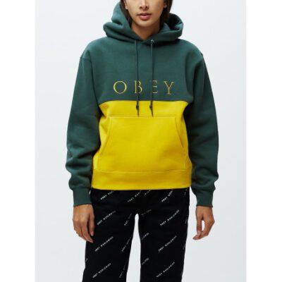 Sudadera OBEY chica Sonora Hood Ref. 211620078 Verde con banda amarilla