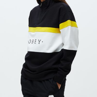 Sudadera OBEY chica Lassen Half Zip Ref. 211620094 Negra con bandas amarillla y blanca