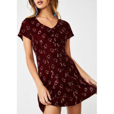 Vestido terciopelo manga corta OBEY chica Rouge Dress Ref. 401500309 Ox Blood granate con flores