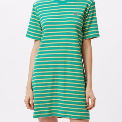Vestido camisero manga corta OBEY chica Gazer Dress Ref. 401500328 emerald multi verde esmeralda rayas
