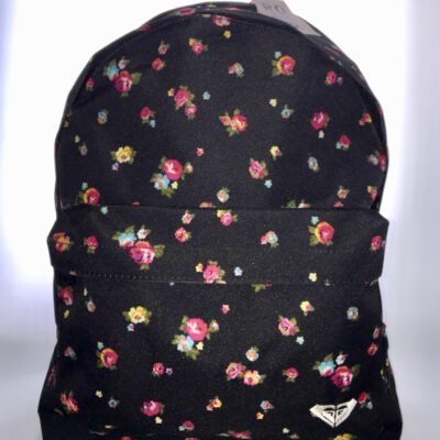 Mochila Roxy Basic Girl ref. WPWBA331 FLOREADA Fondo negro flores de colores