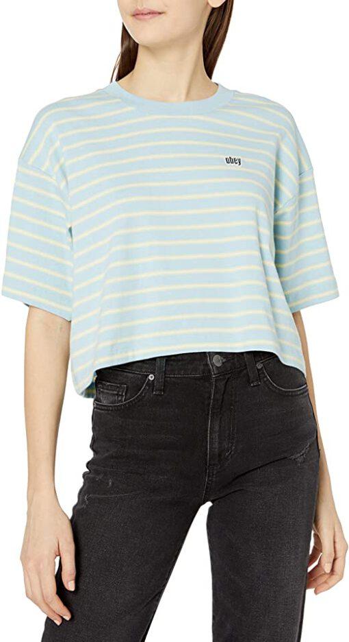 Camiseta manga corta OBEY chica Gazer Box Top Ref. 231080091 Rayada verdes pasteles