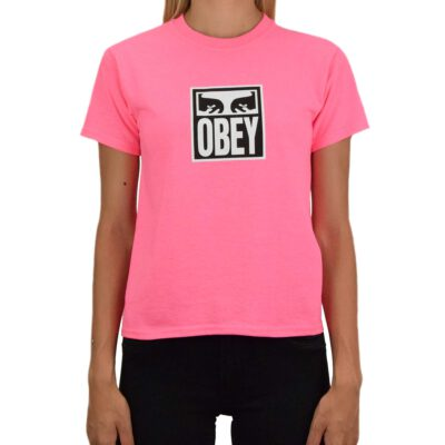 Camiseta manga corta OBEY chica eyes icon Ref. 266801665 Safety Pink Fucsia con logo Obey ojos