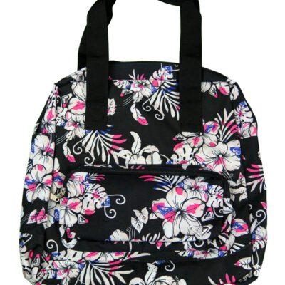 Bolsa Roxy 2 asas medida mediana Active XGWBA221 estampado flores negra blanca y rosa