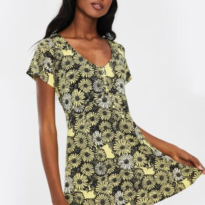 Vestido camisero manga corta OBEY chica Pedal Dress Ref. 401500326 Yelow multi amarillo y negro flores margaritas