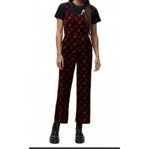 Mono terciopelo tirantes OBEY chica Romper Ref. 242020063 Ox Blood granate con flores