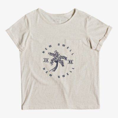 Camiseta ROXY niña manga corta Ref. ERGZT03394 wbto color beige palmera azul- flashes of light b
