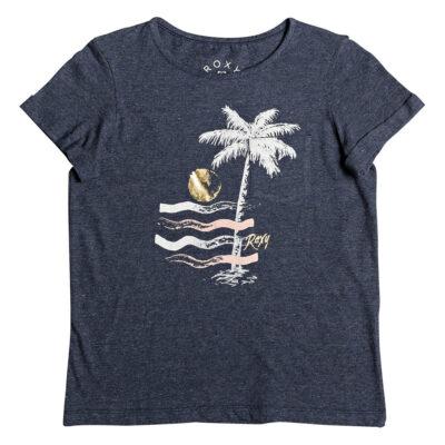 Camiseta ROXY niña manga corta Ref. ERGZT03393 btko azul jaspeada dibujo palmera